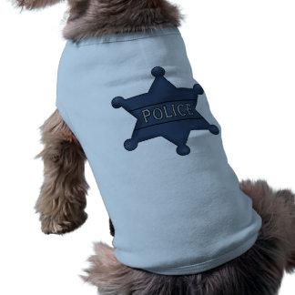 Camiseta Camisetas do cão do crachá da polícia