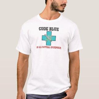 Camiseta Codifique o azul 100% toda a epinefrina natural
