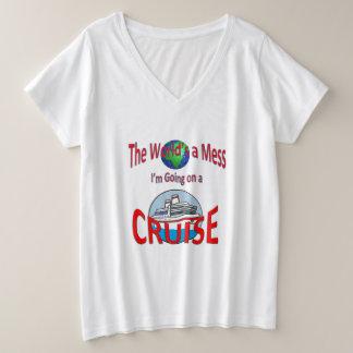 Camiseta Com Gola Em V Plus Size Mundos engraçados um cruzeiro da confusão