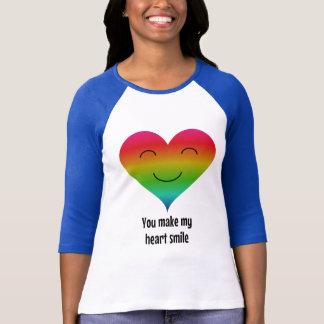 Camiseta Coração do arco-íris do smiley
