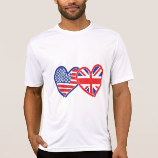 Camiseta Corações da bandeira americana/bandeira de Union