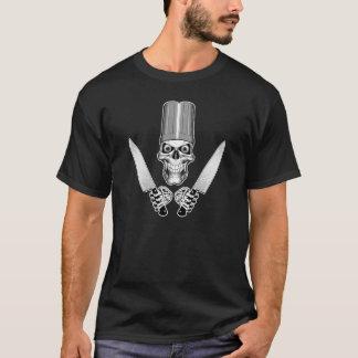 Camiseta Crânio do cozinheiro chefe com facas do cozinheiro