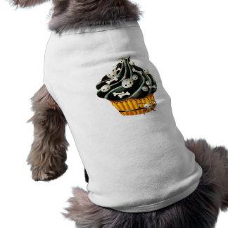 Camiseta Cupcake preto do Dia das Bruxas com crânios