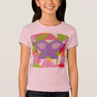 Camiseta Da menina abstrata da colagem da borboleta o