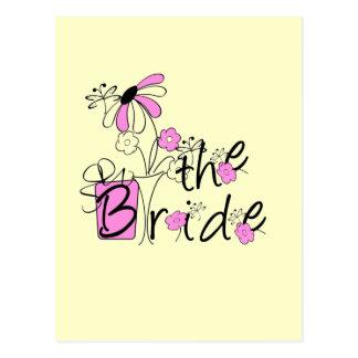 Camiseta da noiva presentes cor-de-rosa e pretos cartão postal