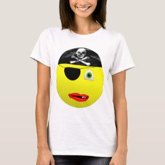 Camiseta das senhoras do pirata do smiley