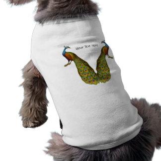 Camiseta de cão customizável dos pares do pavão