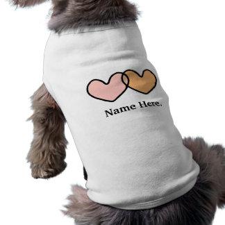Camiseta de cão dobro do coração camisa sem mangas para cachorro