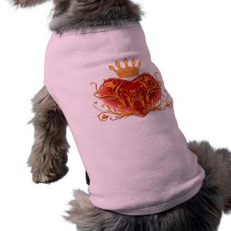 Camiseta de cão filigrana do coração da coroa camisas para caes