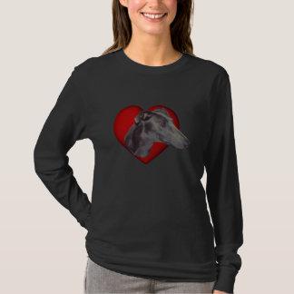 Camiseta de cão vermelha do coração da cara azul