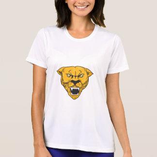 Camiseta Desenho irritado da cabeça do leão de montanha do