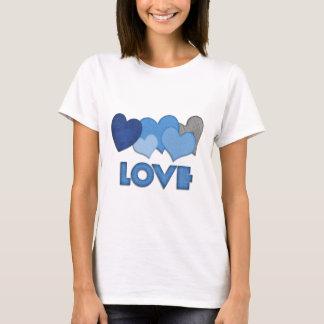 Camiseta Design azul dos corações do amor