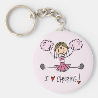 Camiseta e presentes cor-de-rosa do cheerleader chaveiro