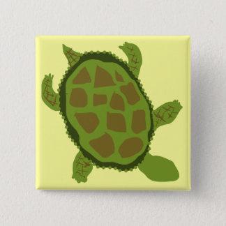 Camiseta e presentes da tartaruga verde bóton quadrado 5.08cm
