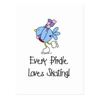 Camiseta e presentes de patinagem do passarinho cartão postal