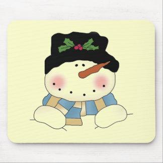Camiseta e presentes de sorriso do boneco de neve mouse pad