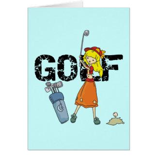 Camiseta e presentes do jogador de golfe da menina cartão comemorativo