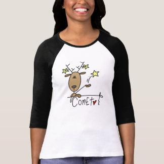 Camiseta e presentes do Natal da rena do cometa
