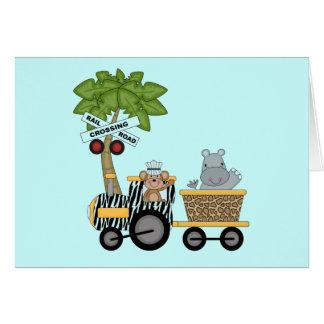 Camiseta e presentes do trem do macaco e do hipopó cartões