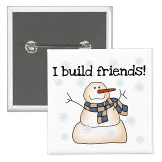 Camiseta e presentes dos amigos da neve da constru bóton quadrado 5.08cm