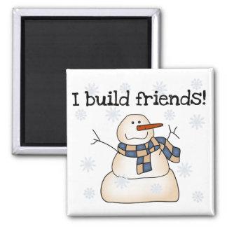 Camiseta e presentes dos amigos da neve da constru ímã quadrado