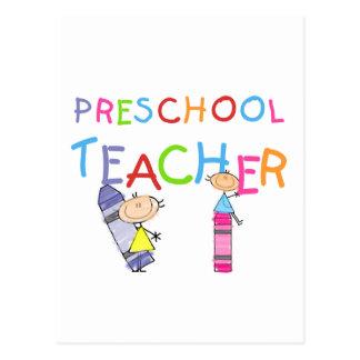 Camiseta e presentes prées-escolar do professor cartão postal
