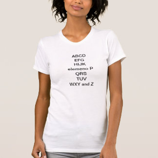 Camiseta Elemeno P QRS TUV WXY e Z de ABCD EFG HIJK