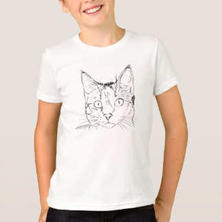 Camiseta Esboço do retrato do gato preto