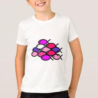 Camiseta Escola de símbolos cristãos dos peixes - rosa