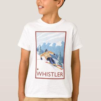 Camiseta Esquiador da neve de Downhhill - assobiador, BC