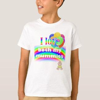 Camiseta Eu amo ambas minhas mamãs: parentalidade lésbica