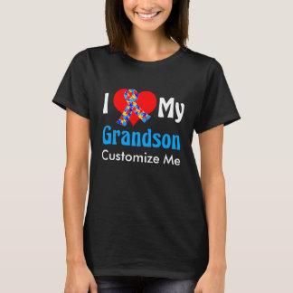 Camiseta Eu amo meu azul da consciência do autismo do neto