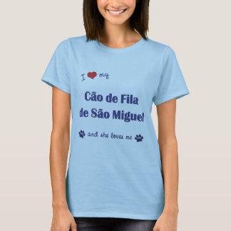 Camiseta Eu amo meu Sao Miguel de Cao de Filamento de (o