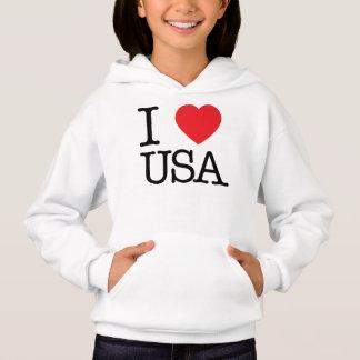Camiseta Eu amo o Hoodie das meninas dos EUA
