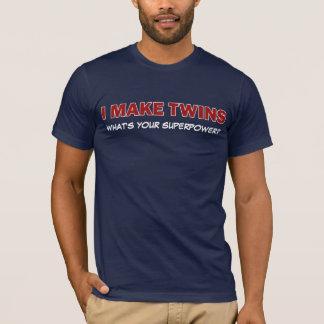 Camiseta EU FAÇO GÊMEOS, o que sou sua superpotência?