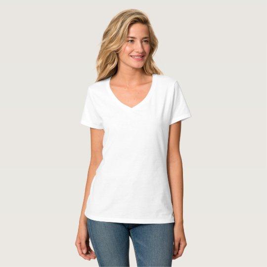 Camiseta Feminina Hanes Nano, Gola V, Branco
