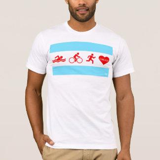 Camiseta Funcionamento Chicago da bicicleta da natação