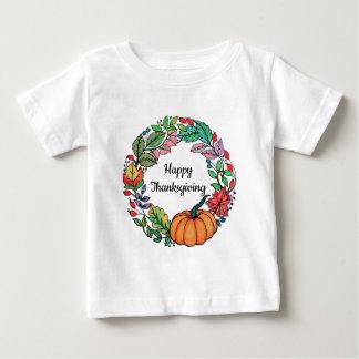 Camiseta Grinalda bonita da abóbora da aguarela com folhas