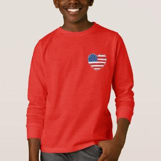 Camiseta Hoodie americano do coração para miúdos