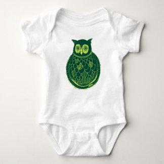 Camiseta Ilustração da coruja - verde e amarelo