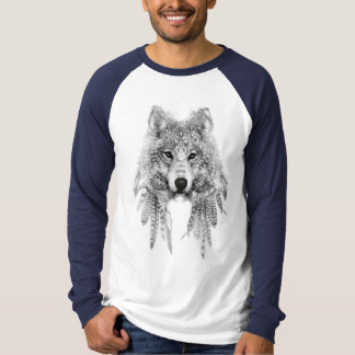Camiseta Lobo na luva longa do Raglan nativo do roupa