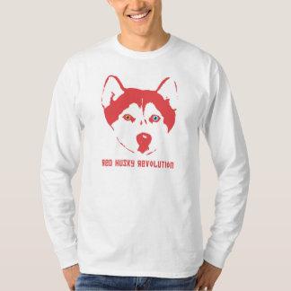 Camiseta Luva longa branca T da revolução ronca vermelha