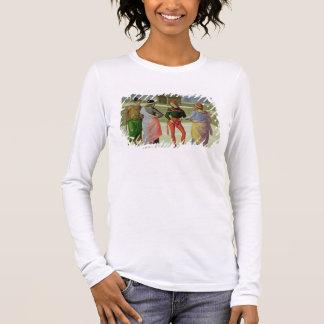 Camiseta Manga Longa O casamento do Virgin, detalhe de quatro homens
