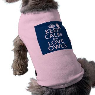 Camiseta Mantenha a calma e ame corujas (alguma cor)