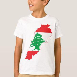 Camiseta Mapa da bandeira de Líbano das LETRAS GRANDES