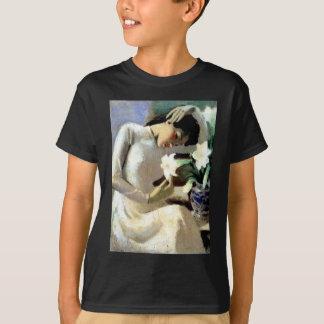 Camiseta Mulher vietnamiana nova com lírio