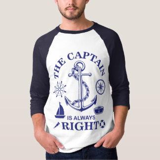 Camiseta O capitão é sempre - capitão Engraçado - marinho