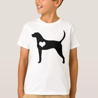 Camiseta O coração do Coonhound do inglês americano caçoa o