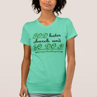 Camiseta O DEUS deia a igreja no verde de seiva/preto na