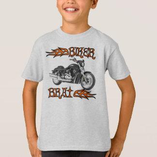 Camiseta O T dos miúdos do pirralho do motociclista